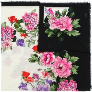 Gucci Rising Flower Silk Scarf in White